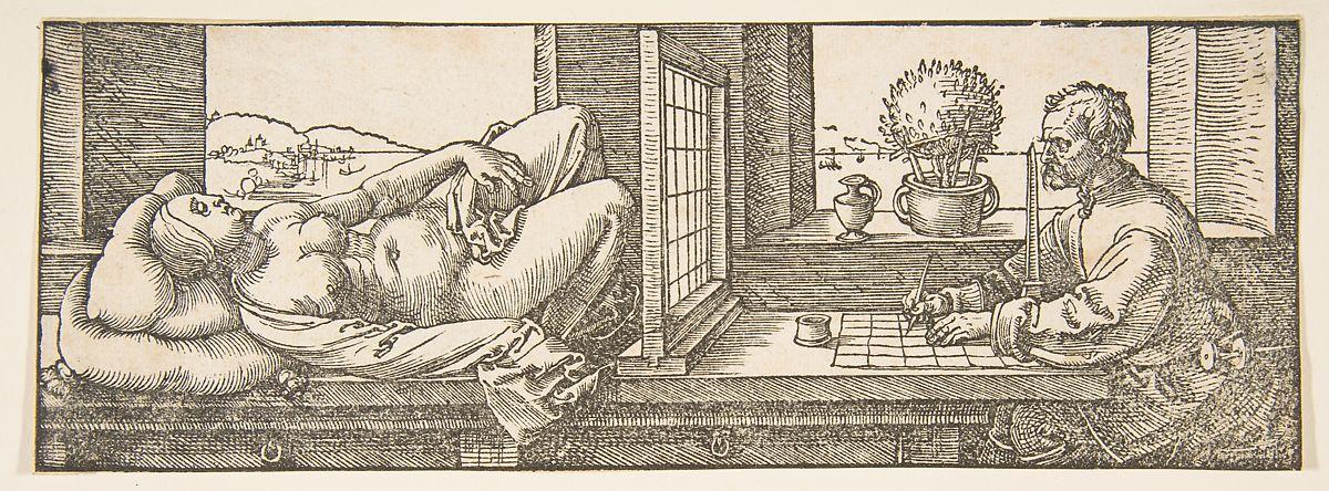 Draughtsman Making a Perspective Drawing of a Reclining Woman (Albrecht Dürer, 1600)