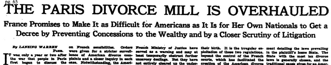 New York Times headline, 1928: The Paris Divorce Mill Is Overhauled