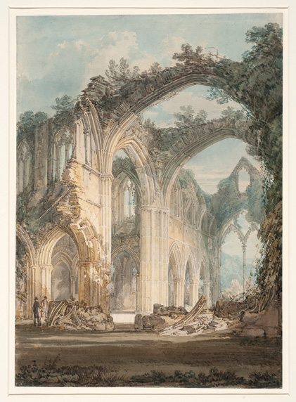 Figure 1 Joseph Mallord William Turner, Tintern Abbey: The Crossing and Chancel, Looking towards the East Window, 1794, graphite and watercolor on paper, 359 × 250 mm.<br />