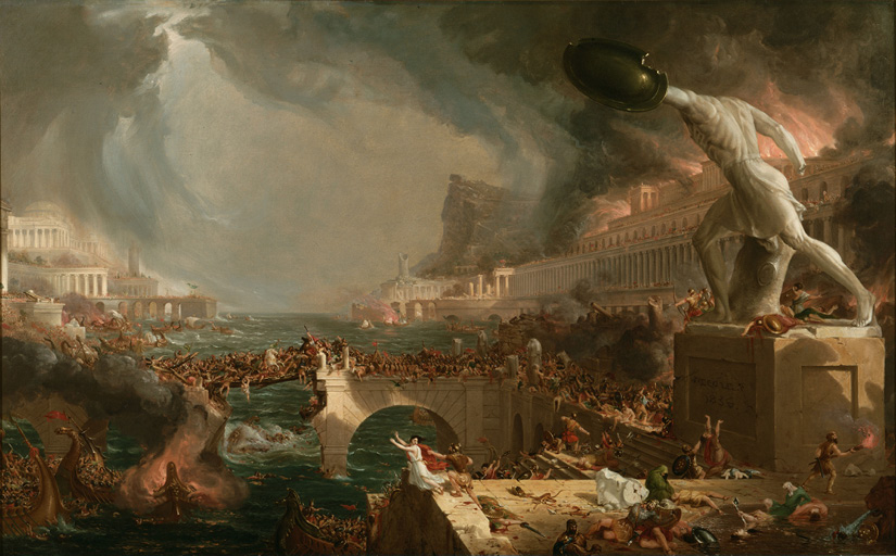 Thomas Cole, Destruction, from the series The Course of Empire, 1836, oil on canvas, 100.3 cm × 161.2 cm.<br />